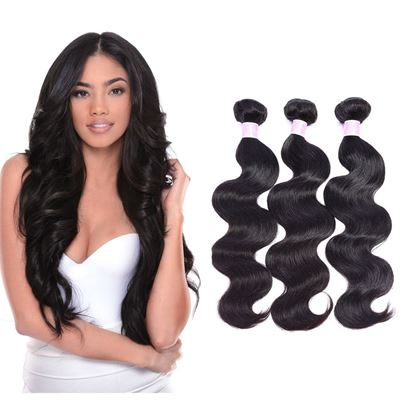 Picture of IUPin 3 Bundles Brazilian Body Wave Human Hair Weave Extensions Natural Color