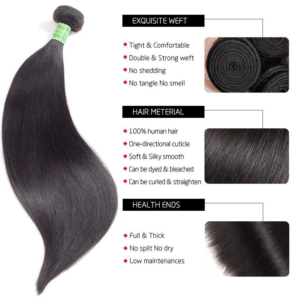 Brazilian Straight Virgin Hair Bundles Unprocessed  Virgin Straight Human Hair Brazilian Straight Hair