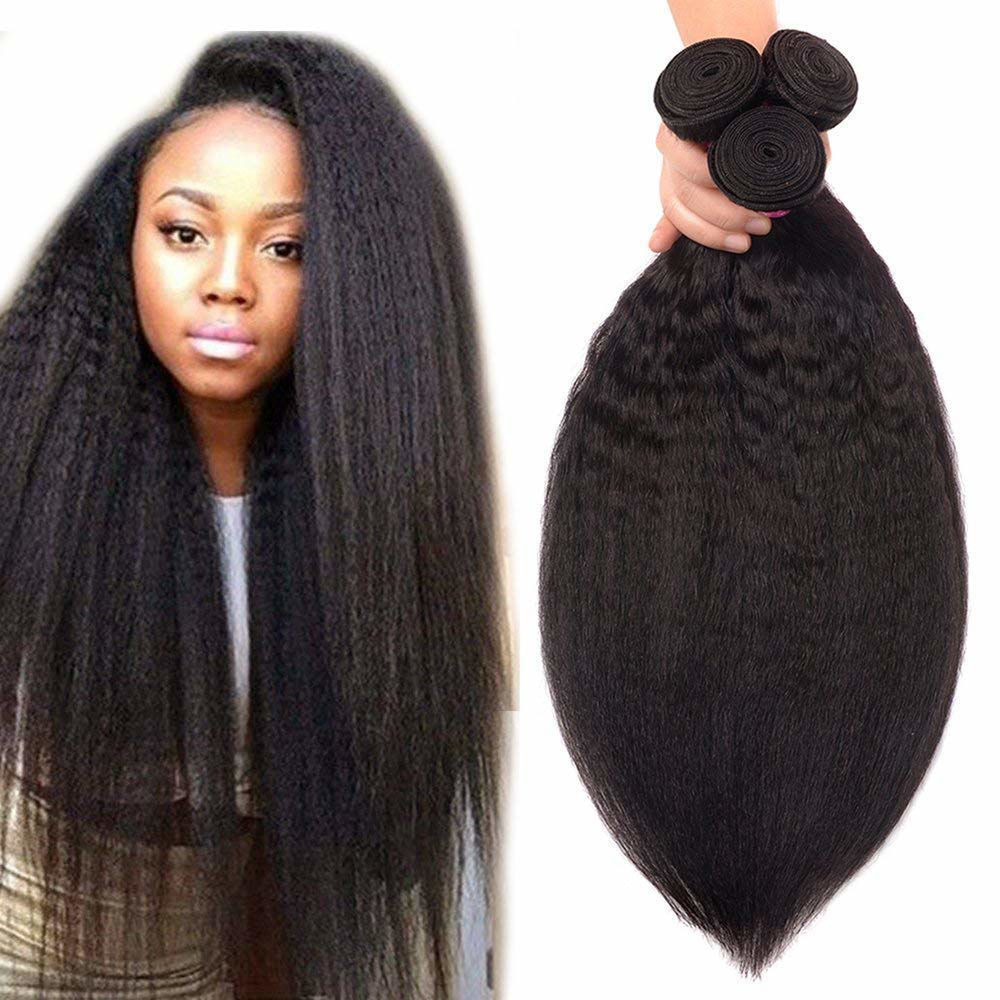 Brazilian Kinky Straight Human Hair Bundles Yaki Straight Human Hair Weave Bundles Unprocessed 8A Brazilian Virgin Human Hair Bundles