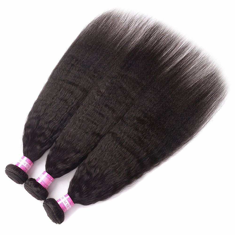 Kinky Straight Human Hair Bundles Yaki Straight Human Hair Weave Bundles Unprocessed 8A Brazilian Virgin Human Hair Bundles