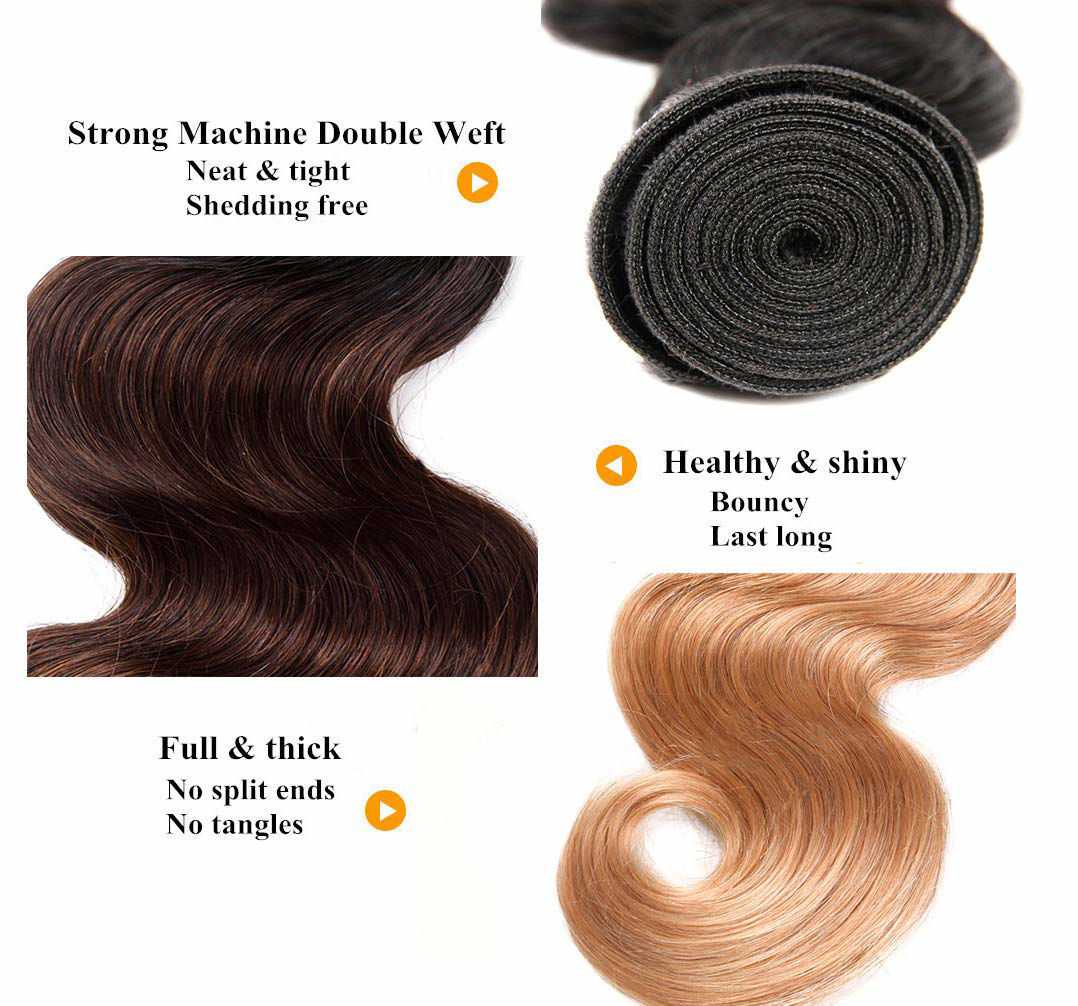 Ombre Bundles with Closure Brazilian Body Wave Bundles Ombre Bundles of Brazilian Hair with Lace Closure Free Part 1B#4#27#
