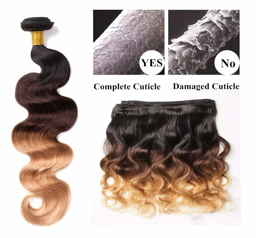 Annelbel Ombre Bundles with Closure Brazilian Body Wave Bundles Ombre Bundles of Brazilian Hair with Lace Closure Free Part 1B#4#27#