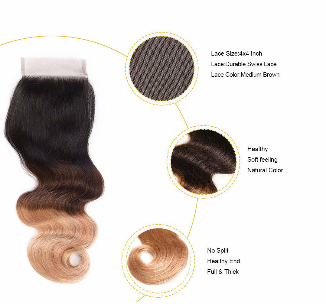 Annelbel Hair Ombre Bundles with Closure Brazilian Body Wave Bundles Ombre Bundles of Brazilian Hair with Lace Closure Free Part 1B#4#27#