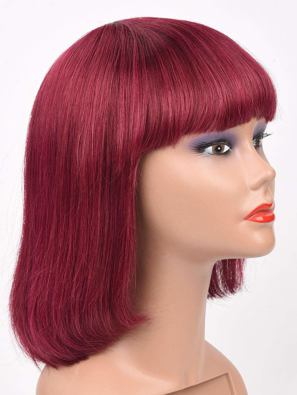 Wine Red Bob Wig with Bangs Human Hair Machine Made None Lace Front Wigs 99j wigs