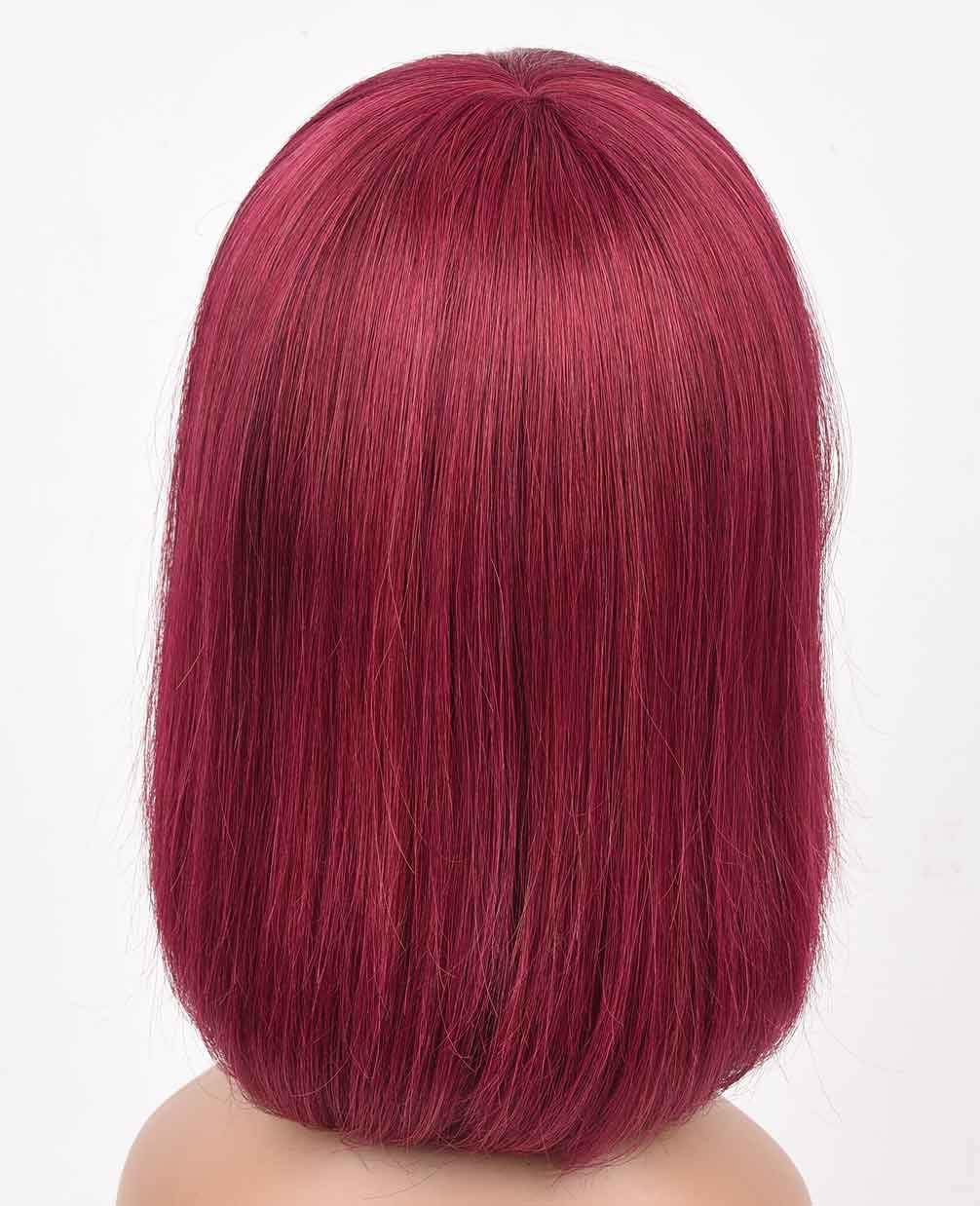 Wine Red Bob Wig with Bangs Human Hair Machine Made None Lace Front Wigs 99j bob wigs