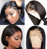 Short Bob Wig Straight Lace Front Wigs Human Hair for Black Women 10A Bob Lace Front Wig Remy Human Hair Wigs