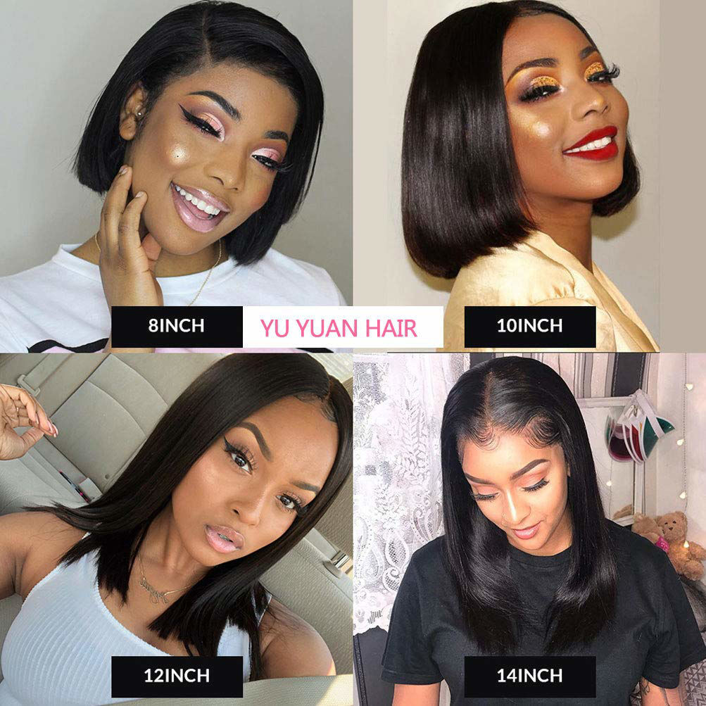 Short Bob Wig Straight Lace Front Wigs Human Hair for Black Women 10A Bob Lace Front Wig Remy Human Hair Extensions