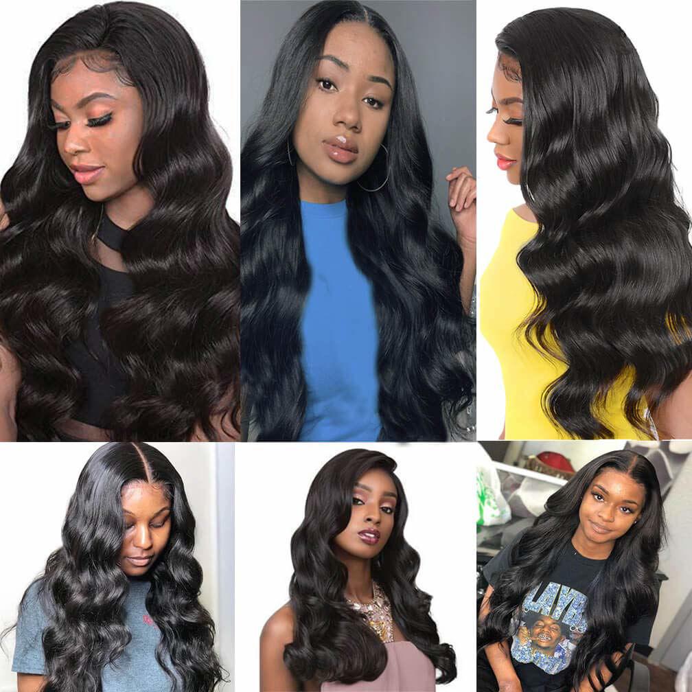 Wigs Human Hair Lace Closure Wig Body wave Deep Wave Bundles Straight Wig Virgin Hair for Black Women 6