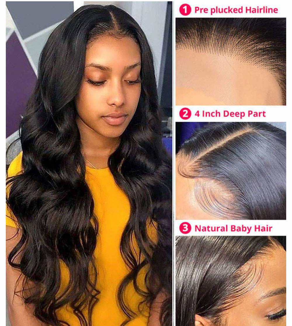 Body Wave Closure Wig Human Hair 4x4 Lace Closure Wigs Human Hair Body Wave Natural Human Hair Wigs for Black Women Pre Plucked Wavy Human Hair 7